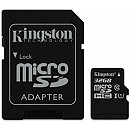 Kingston microSDHC, 32GB, Class 10 UHS-I + SD Adapter