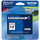 Brother TZ-E211, 6mm, black on white, adhesive, p-touch tape