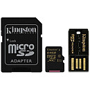 Kingston microSDXC, 64GB, Class 10 + USB2.0 & SD Adapter